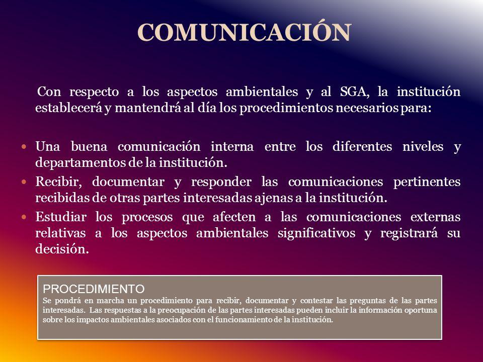 COMUNICACIÓN Con respecto a los aspectos ambientales y al SGA, la institución establecerá y mantendrá al día los procedimientos necesarios para: