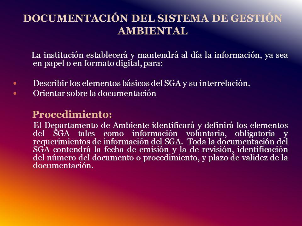 DOCUMENTACIÓN DEL SISTEMA DE GESTIÓN AMBIENTAL