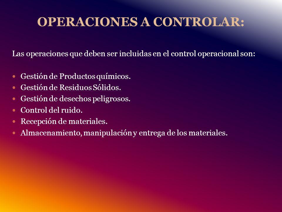 OPERACIONES A CONTROLAR: