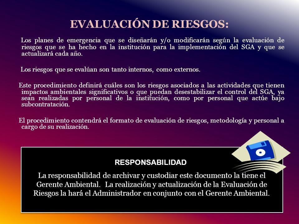 EVALUACIÓN DE RIESGOS: