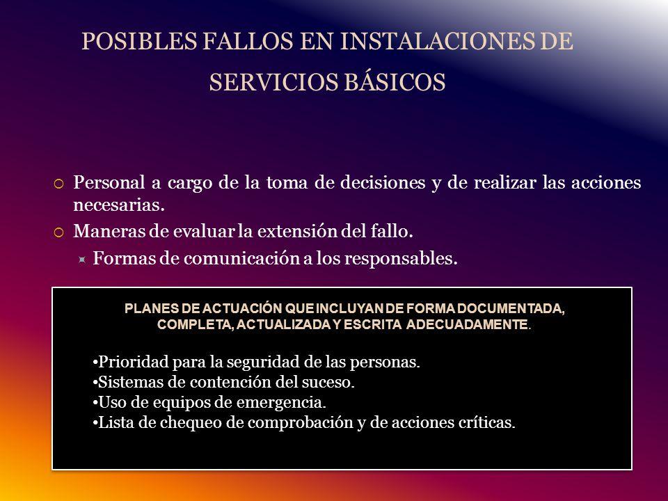 POSIBLES FALLOS EN INSTALACIONES DE SERVICIOS BÁSICOS