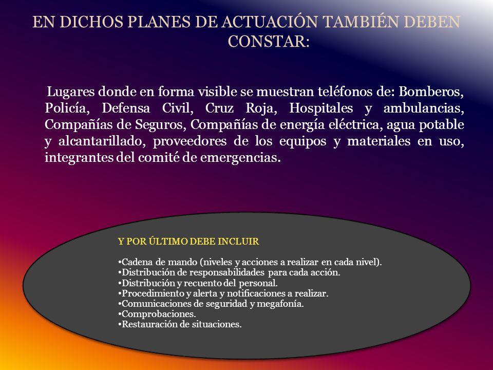 EN DICHOS PLANES DE ACTUACIÓN TAMBIÉN DEBEN CONSTAR: