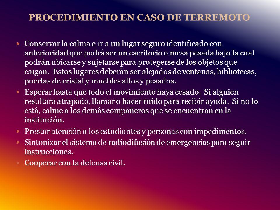 PROCEDIMIENTO EN CASO DE TERREMOTO