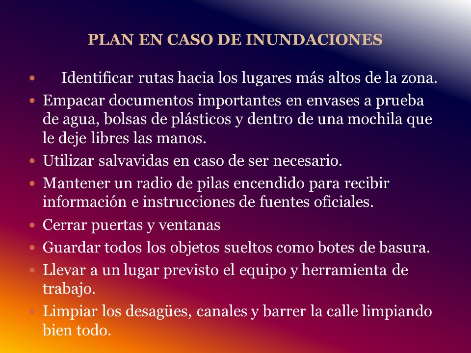 PLAN EN CASO DE INUNDACIONES