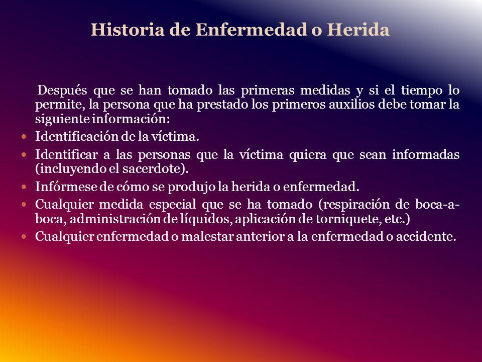 Historia de Enfermedad o Herida
