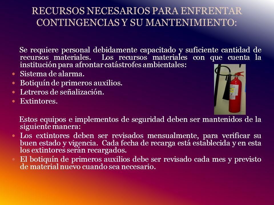 RECURSOS NECESARIOS PARA ENFRENTAR CONTINGENCIAS Y SU MANTENIMIENTO: