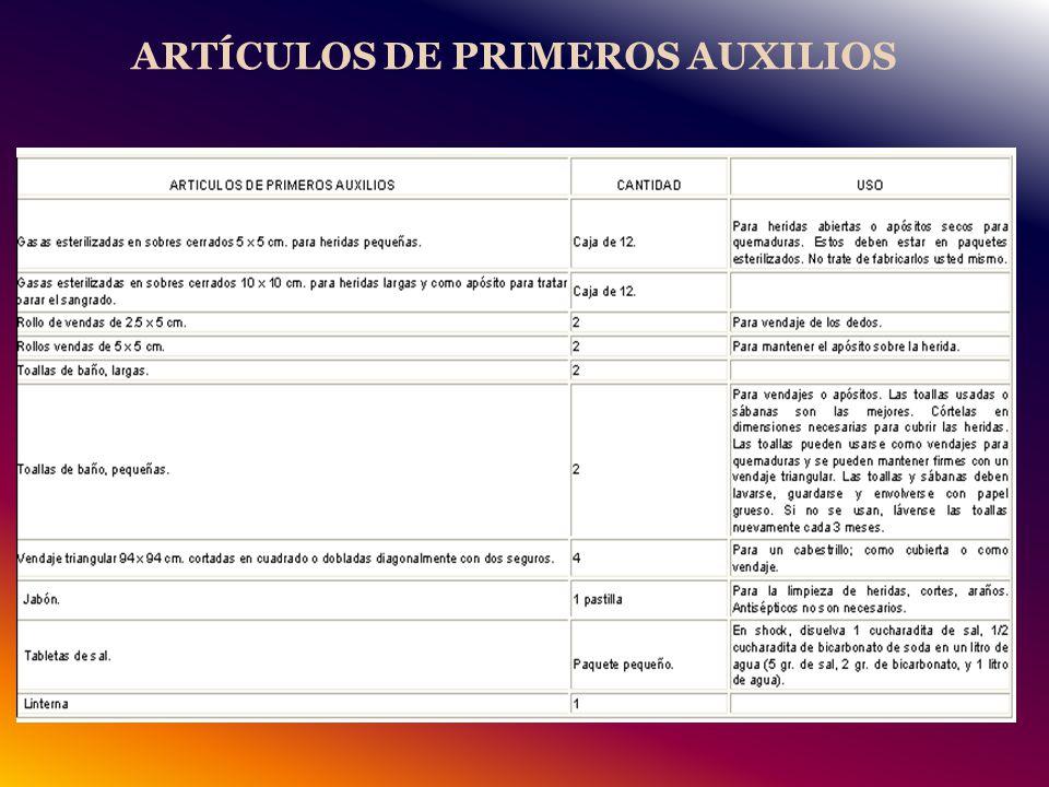 ARTÍCULOS DE PRIMEROS AUXILIOS