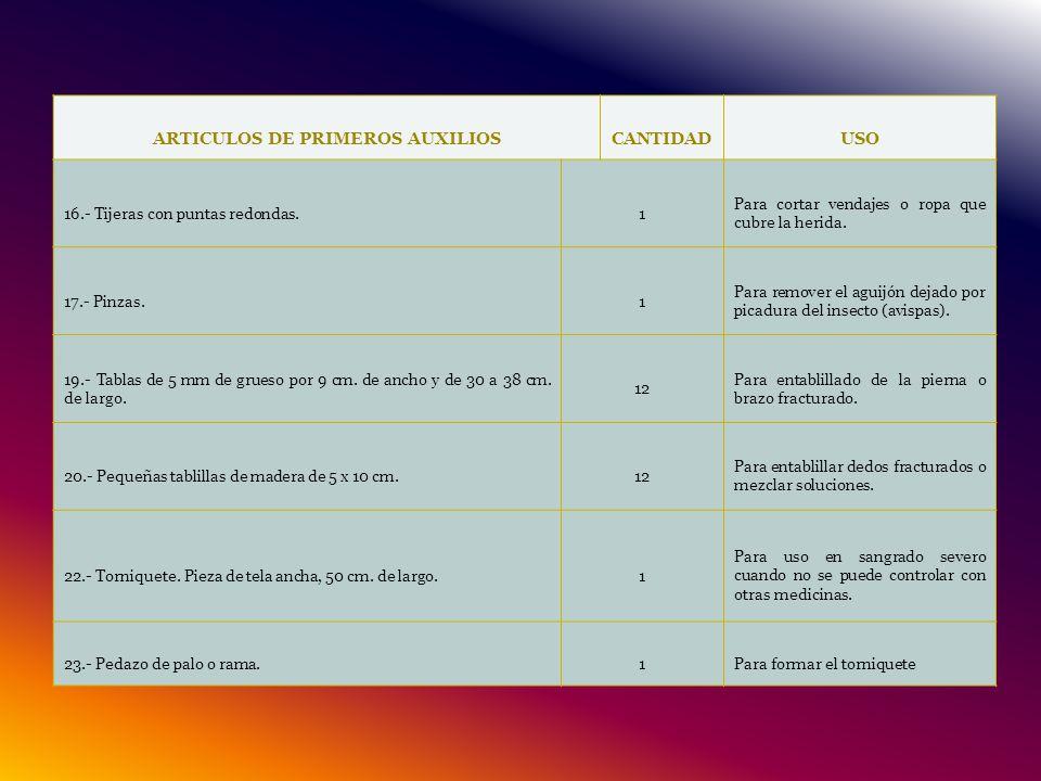 ARTICULOS DE PRIMEROS AUXILIOS