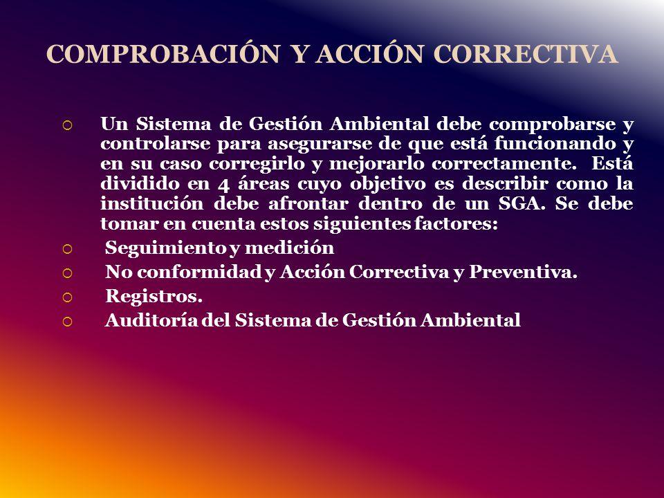 COMPROBACIÓN Y ACCIÓN CORRECTIVA