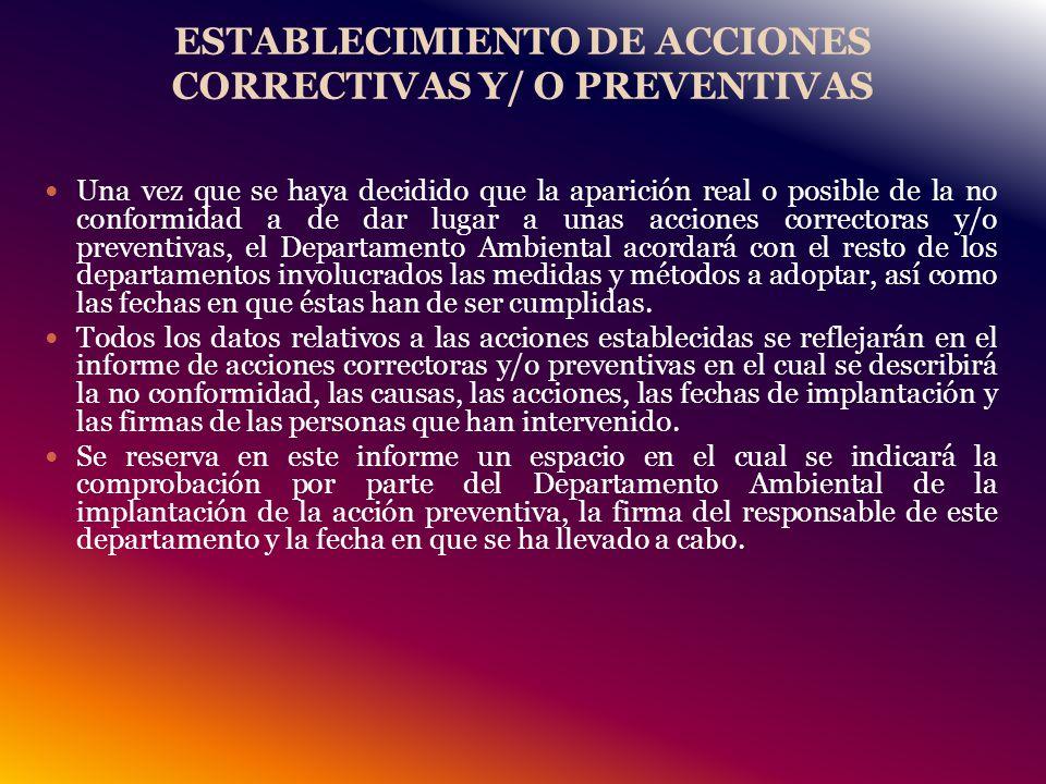 ESTABLECIMIENTO DE ACCIONES CORRECTIVAS Y/ O PREVENTIVAS