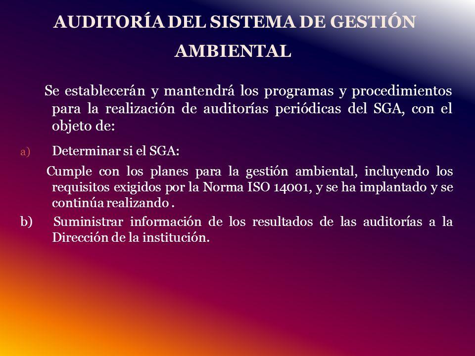 AUDITORÍA DEL SISTEMA DE GESTIÓN AMBIENTAL