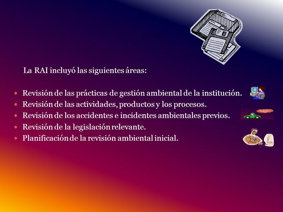 La RAI incluyó las siguientes áreas: