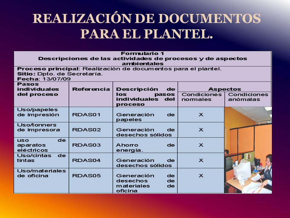 REALIZACIÓN DE DOCUMENTOS PARA EL PLANTEL.