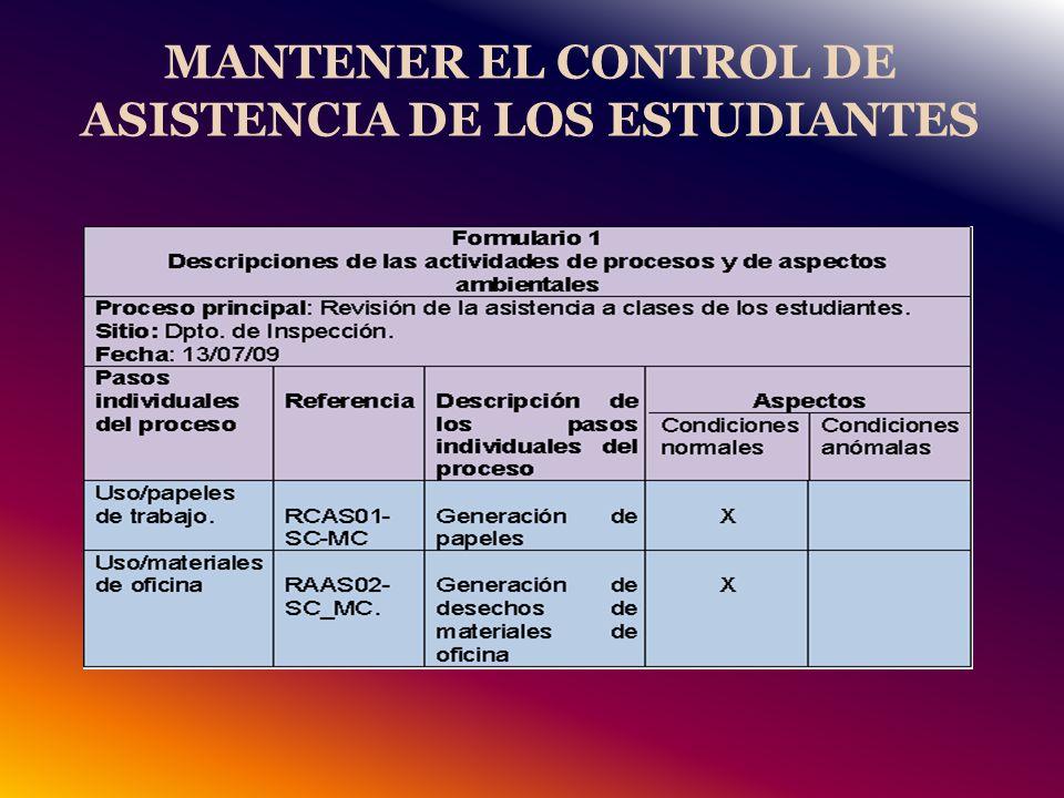 MANTENER EL CONTROL DE ASISTENCIA DE LOS ESTUDIANTES