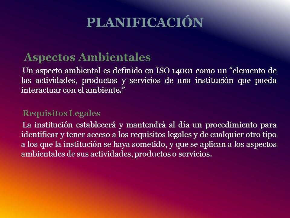 PLANIFICACIÓN Aspectos Ambientales