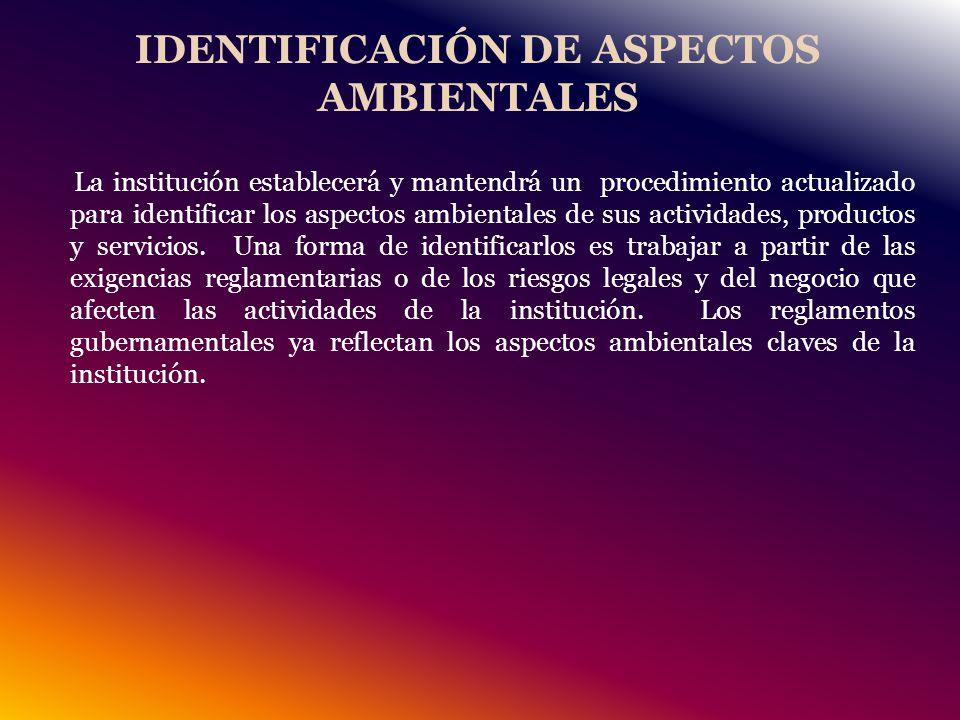IDENTIFICACIÓN DE ASPECTOS AMBIENTALES