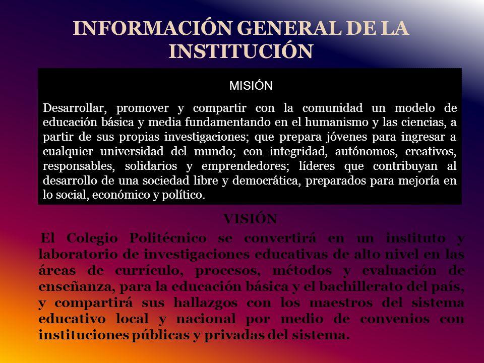 INFORMACIÓN GENERAL DE LA INSTITUCIÓN