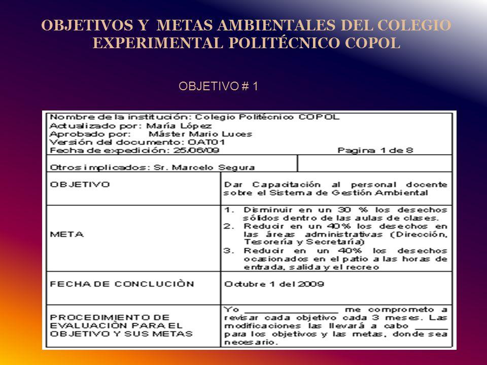 OBJETIVOS Y METAS AMBIENTALES DEL COLEGIO EXPERIMENTAL POLITÉCNICO COPOL