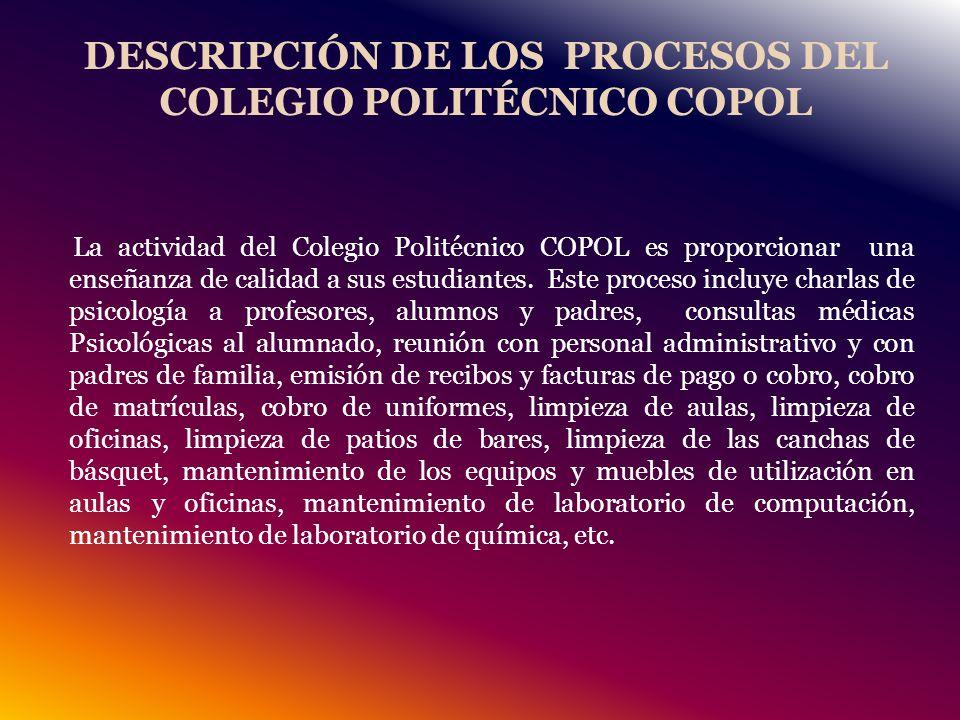 DESCRIPCIÓN DE LOS PROCESOS DEL COLEGIO POLITÉCNICO COPOL