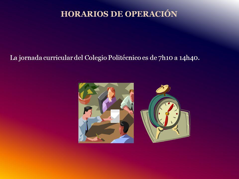 La jornada curricular del Colegio Politécnico es de 7h10 a 14h40.