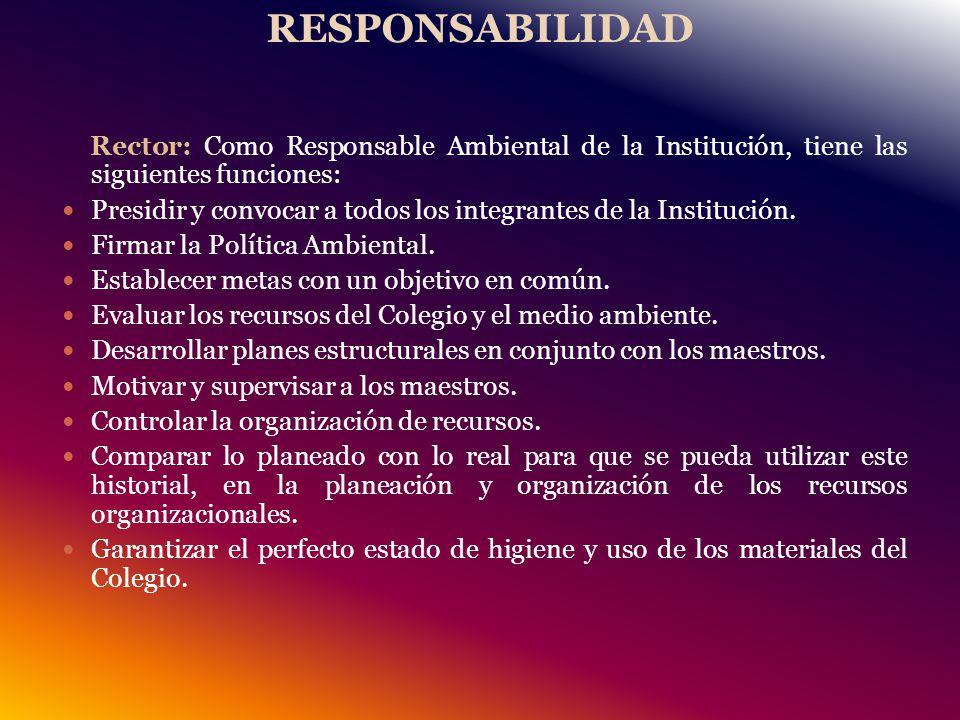 RESPONSABILIDAD Rector: Como Responsable Ambiental de la Institución, tiene las siguientes funciones: