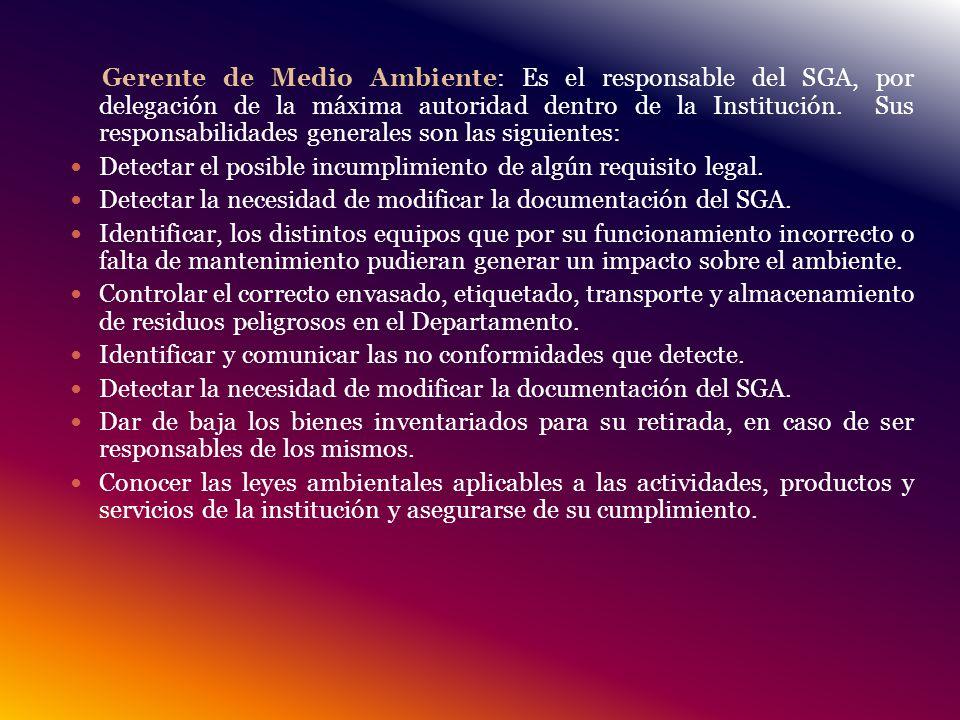 Gerente de Medio Ambiente: Es el responsable del SGA, por delegación de la máxima autoridad dentro de la Institución. Sus responsabilidades generales son las siguientes: