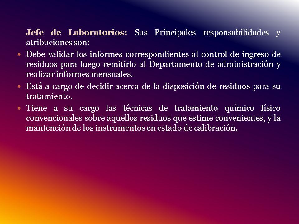 Jefe de Laboratorios: Sus Principales responsabilidades y atribuciones son: