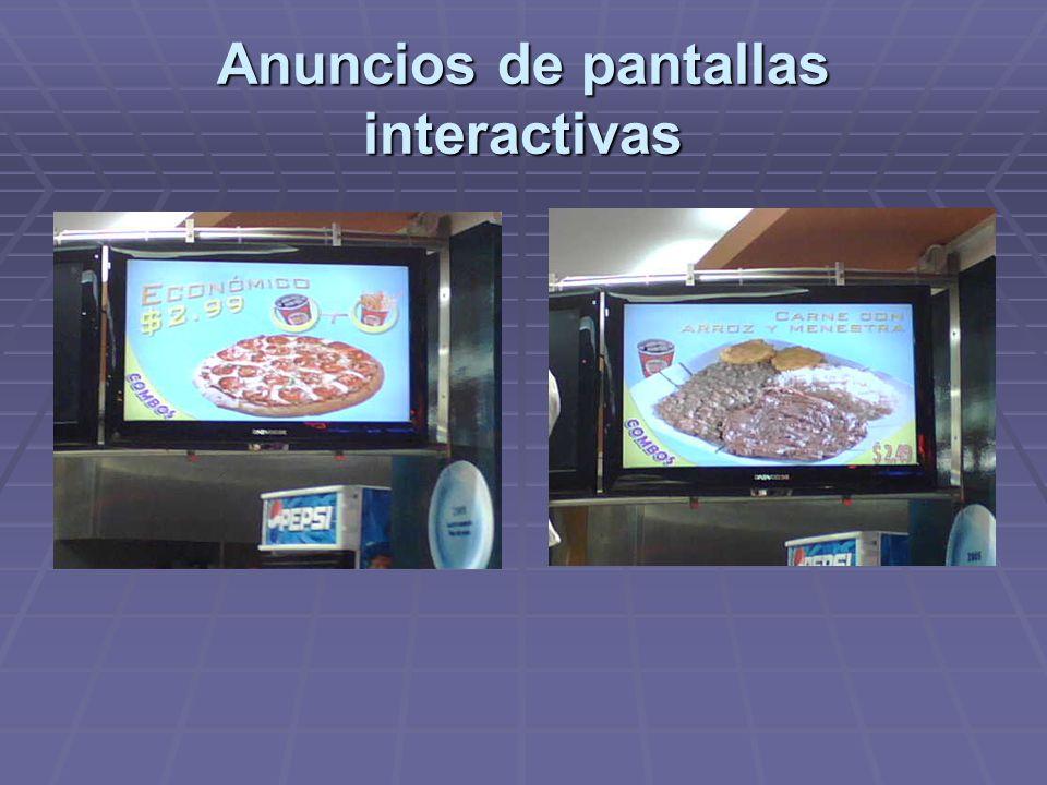 Anuncios de pantallas interactivas