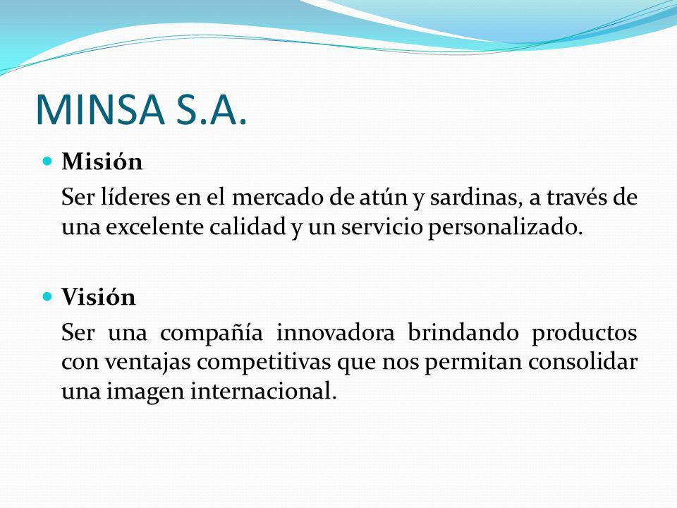 MINSA S.A. Misión. Ser líderes en el mercado de atún y sardinas, a través de una excelente calidad y un servicio personalizado.