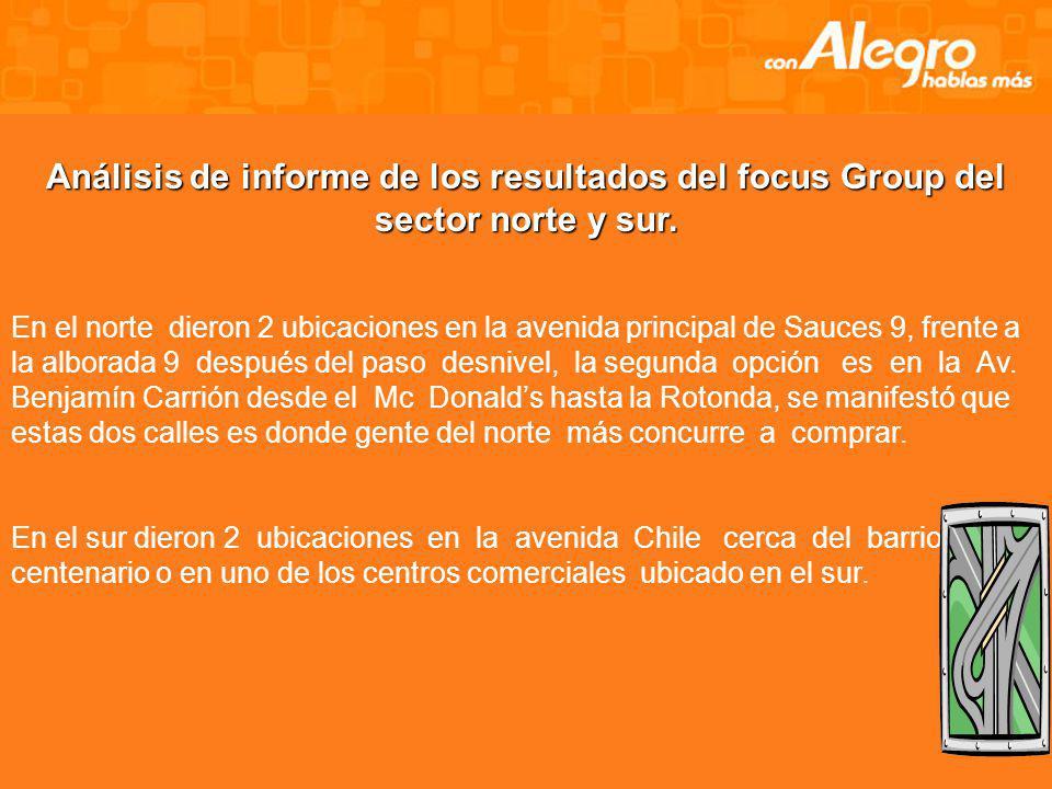 Análisis de informe de los resultados del focus Group del sector norte y sur.
