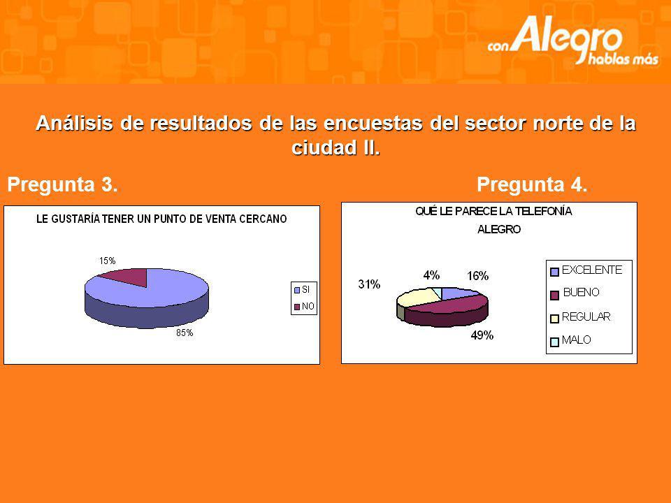 Análisis de resultados de las encuestas del sector norte de la ciudad II.