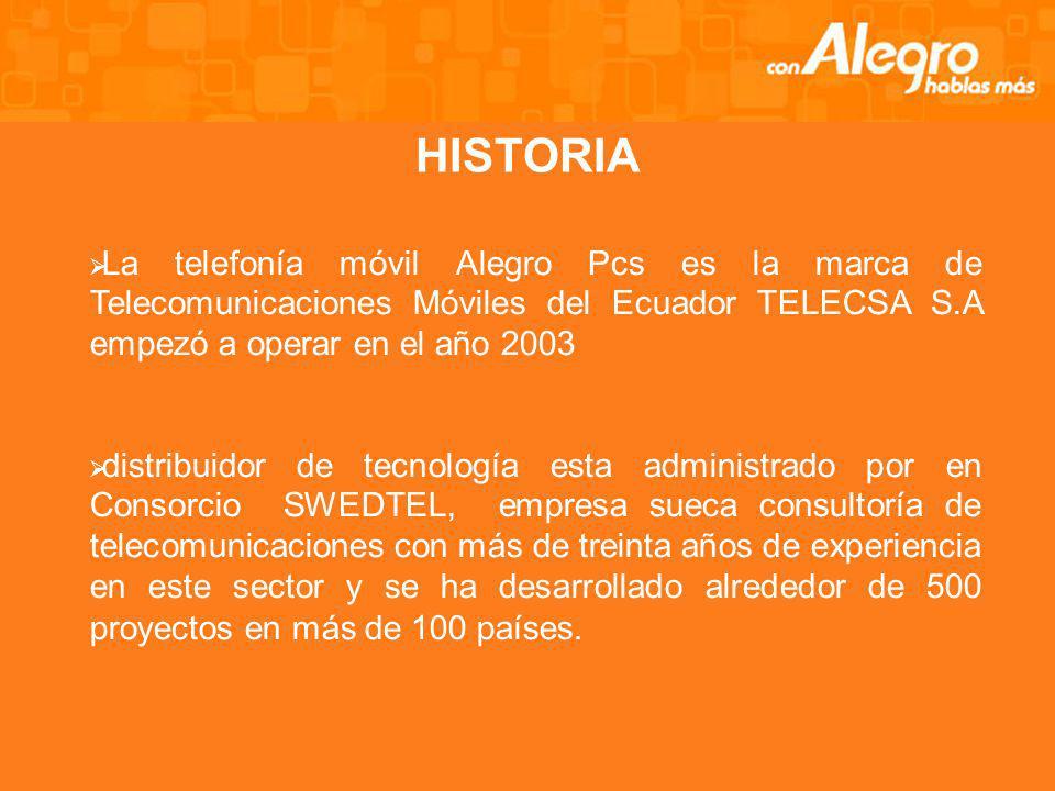 HISTORIA La telefonía móvil Alegro Pcs es la marca de Telecomunicaciones Móviles del Ecuador TELECSA S.A empezó a operar en el año 2003.
