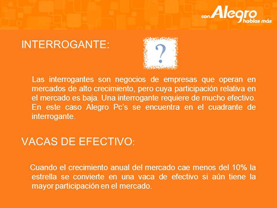 INTERROGANTE: VACAS DE EFECTIVO: