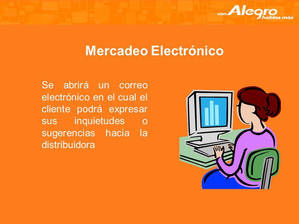 Mercadeo Electrónico Se abrirá un correo electrónico en el cual el cliente podrá expresar sus inquietudes o sugerencias hacia la distribuidora.