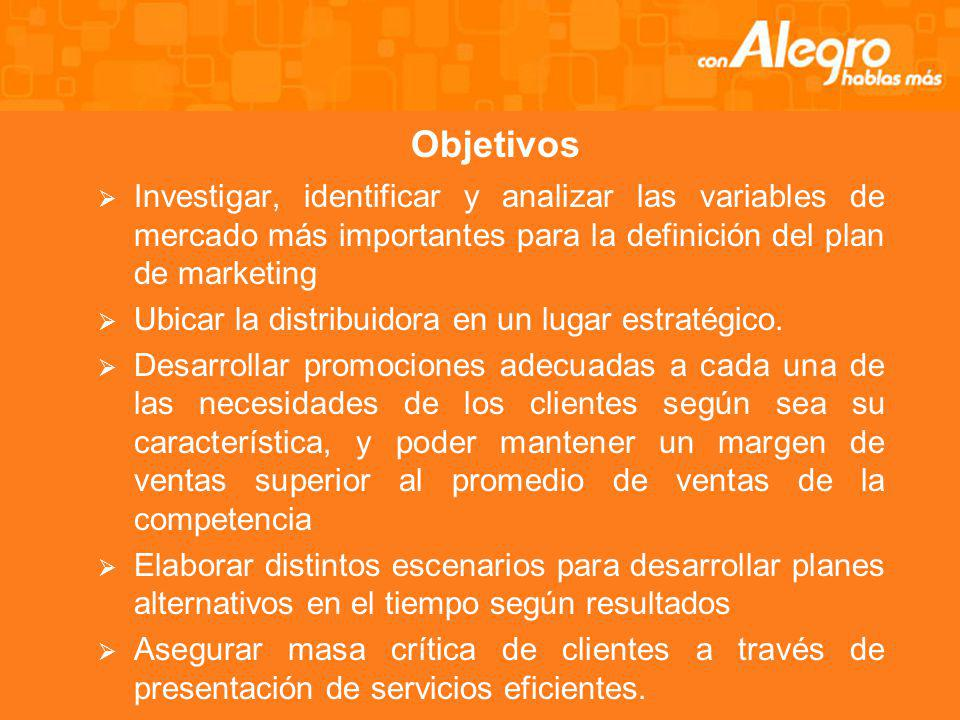 Objetivos Investigar, identificar y analizar las variables de mercado más importantes para la definición del plan de marketing.