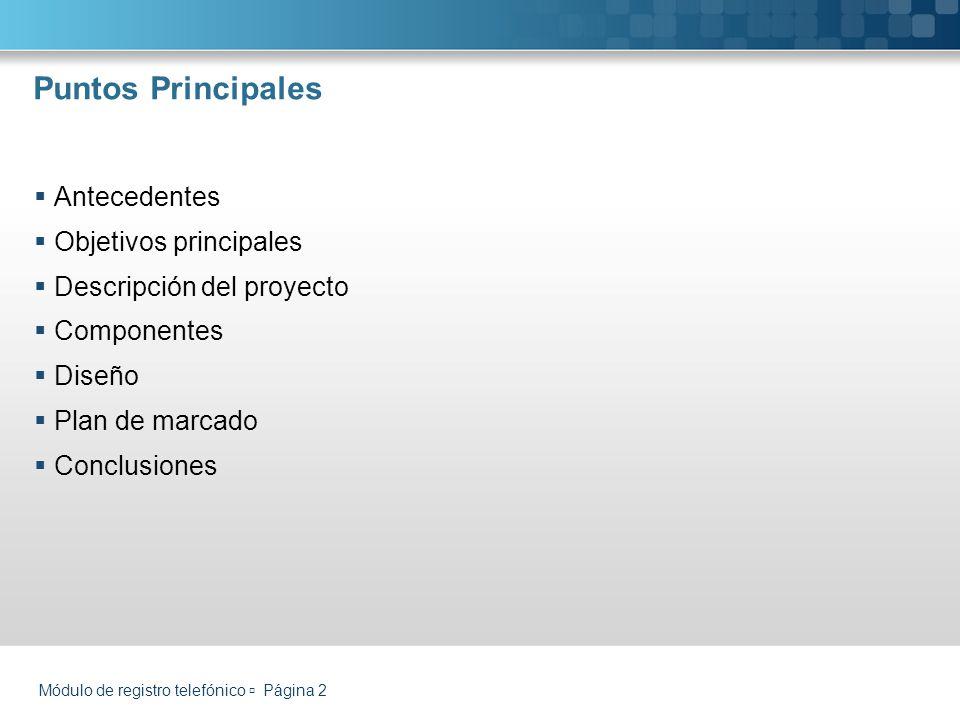 Puntos Principales Antecedentes Objetivos principales