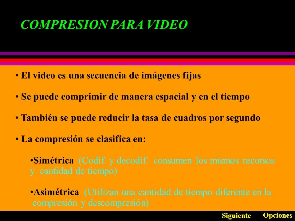 COMPRESION PARA VIDEO El video es una secuencia de imágenes fijas