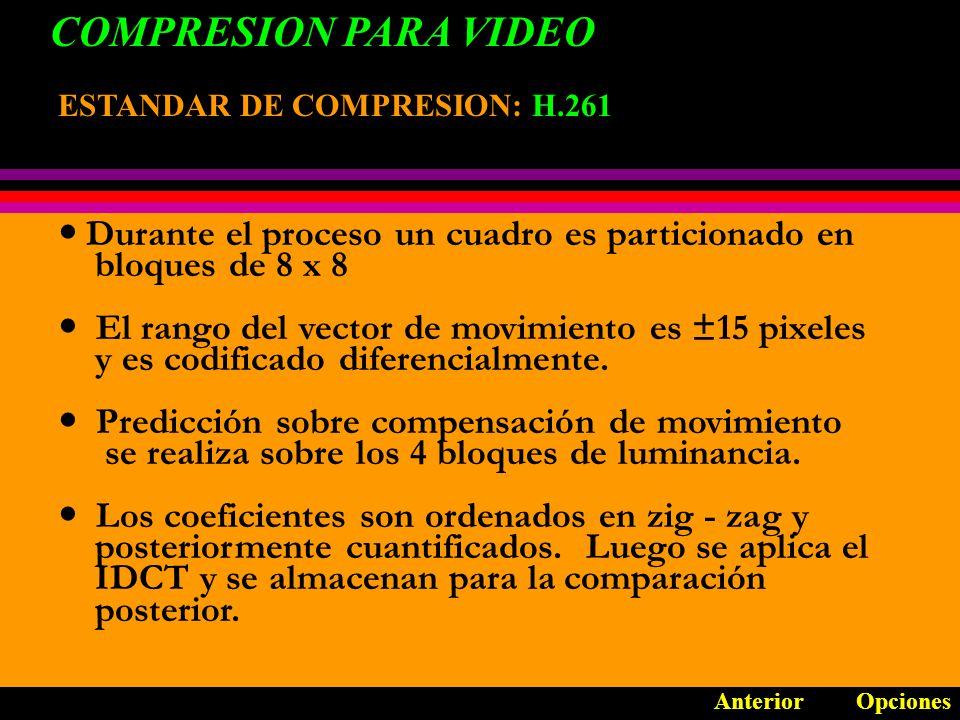 COMPRESION PARA VIDEO Durante el proceso un cuadro es particionado en