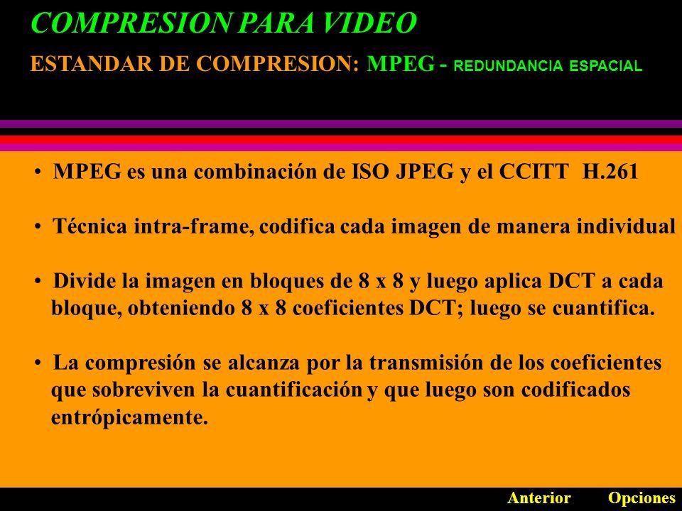 COMPRESION PARA VIDEO ESTANDAR DE COMPRESION: MPEG - REDUNDANCIA ESPACIAL. MPEG es una combinación de ISO JPEG y el CCITT H.261.