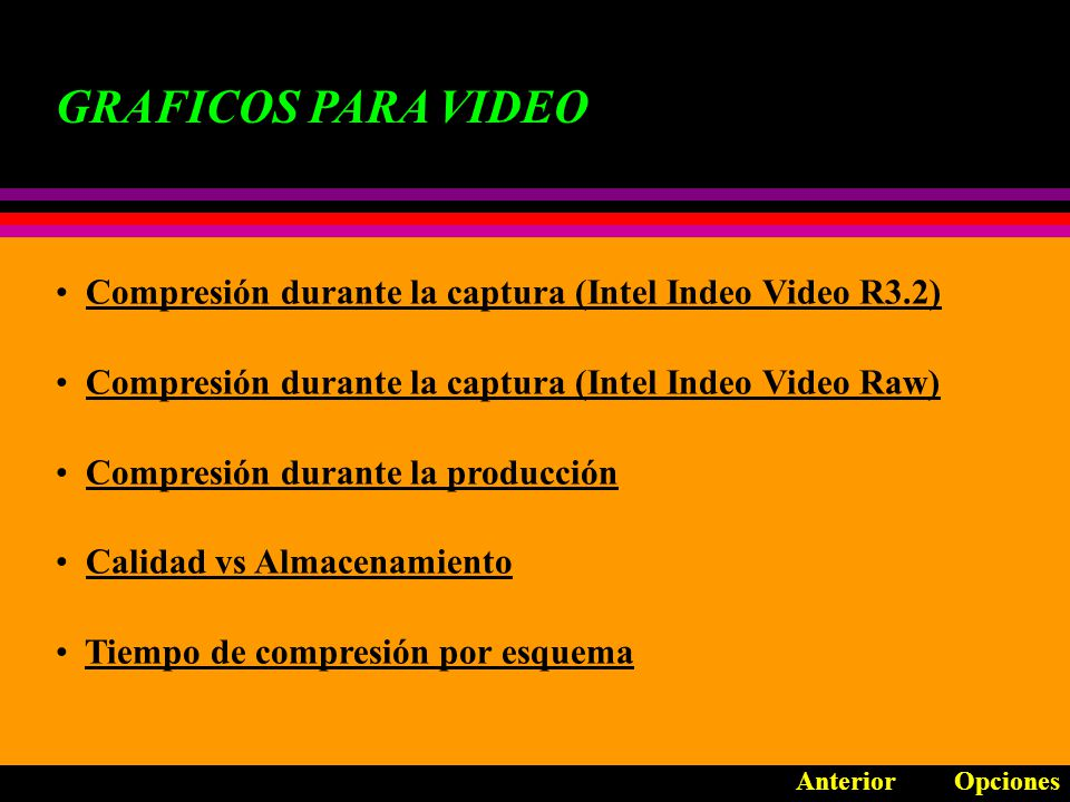 GRAFICOS PARA VIDEO Compresión durante la captura (Intel Indeo Video R3.2) Compresión durante la captura (Intel Indeo Video Raw)