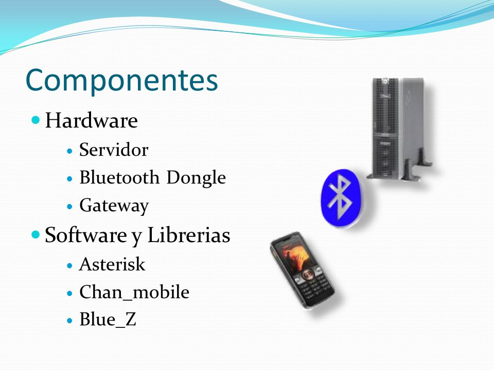Componentes Hardware Software y Librerias Servidor Bluetooth Dongle