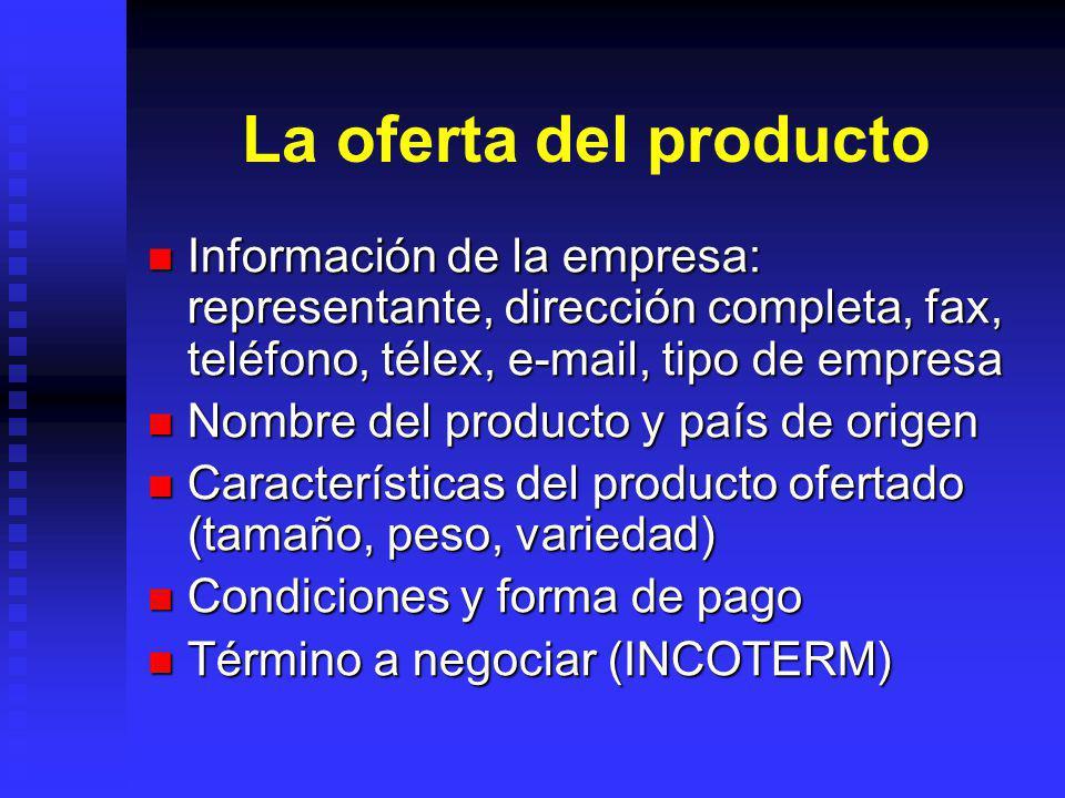 La oferta del producto Información de la empresa: representante, dirección completa, fax, teléfono, télex, e-mail, tipo de empresa.