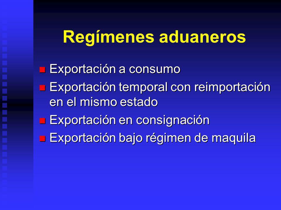 Regímenes aduaneros Exportación a consumo