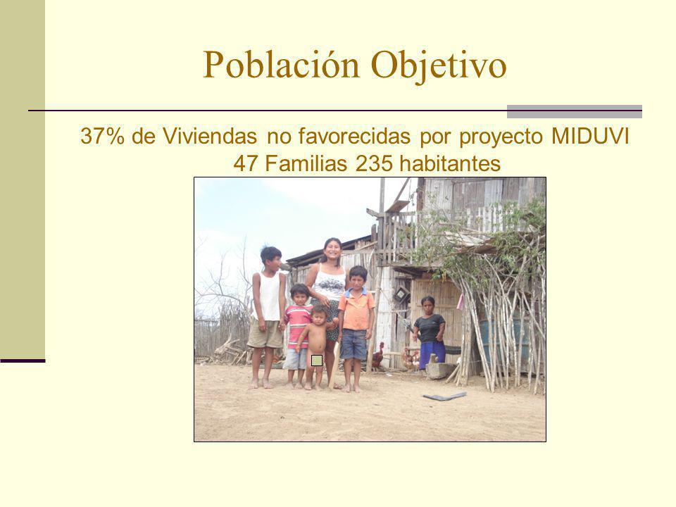 Población Objetivo 37% de Viviendas no favorecidas por proyecto MIDUVI 47 Familias 235 habitantes