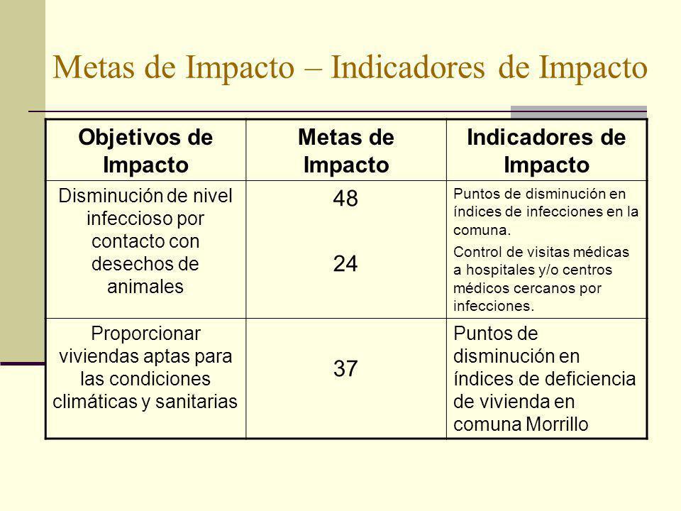Metas de Impacto – Indicadores de Impacto