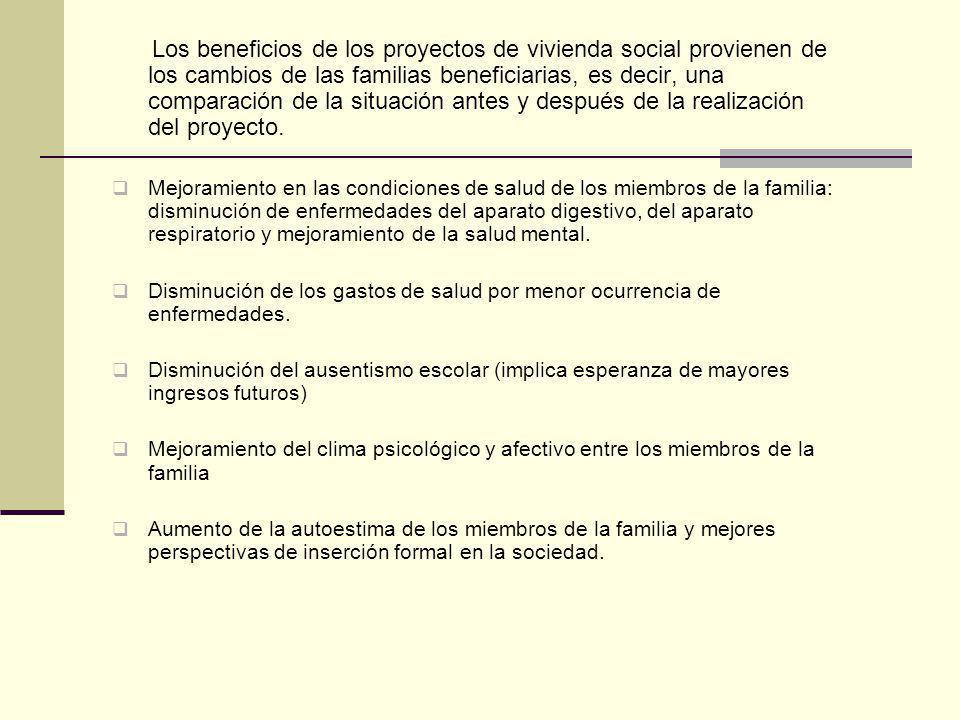 Los beneficios de los proyectos de vivienda social provienen de los cambios de las familias beneficiarias, es decir, una comparación de la situación antes y después de la realización del proyecto.