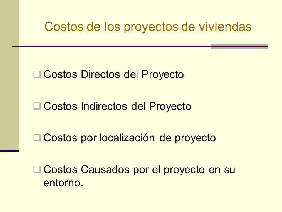 Costos de los proyectos de viviendas