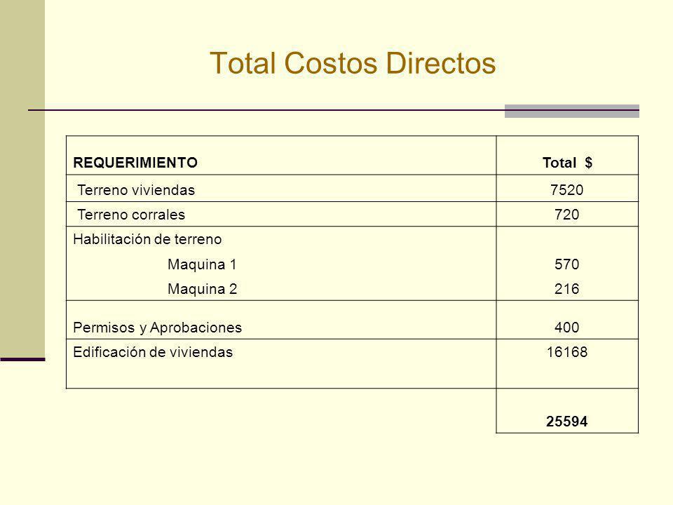 Total Costos Directos REQUERIMIENTO Total $ Terreno viviendas 7520