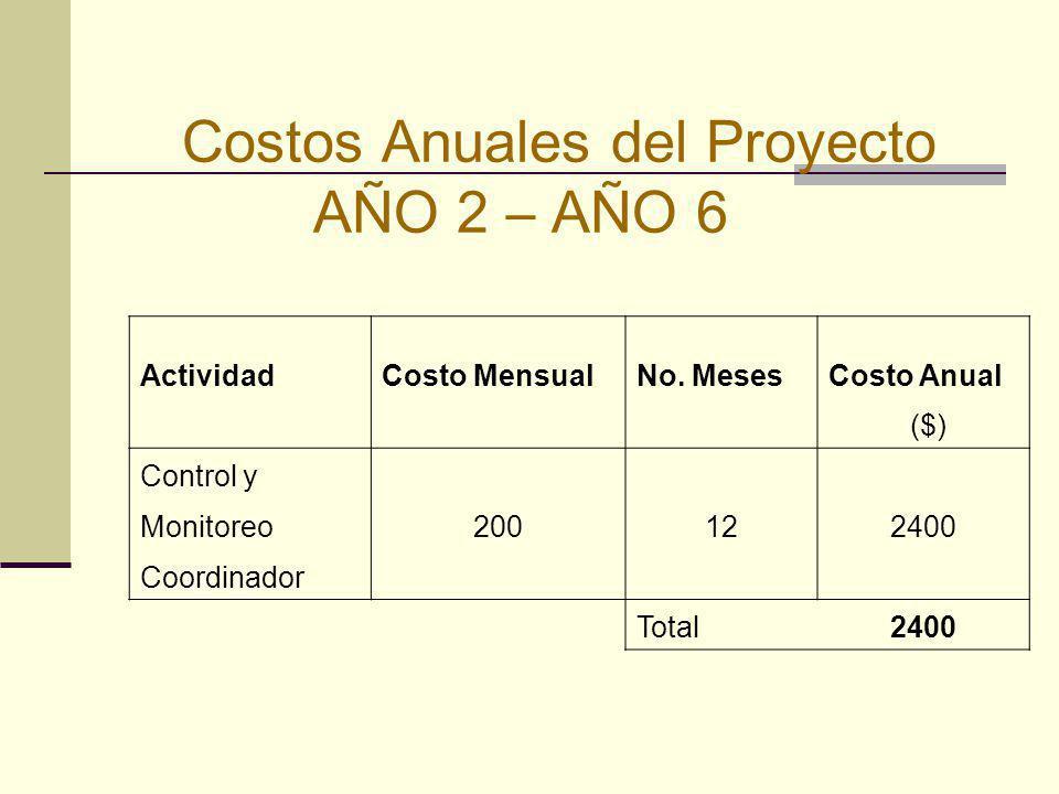 Costos Anuales del Proyecto AÑO 2 – AÑO 6
