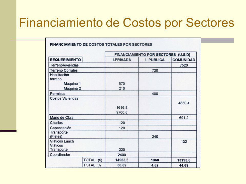 Financiamiento de Costos por Sectores
